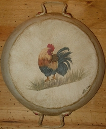 Country Painting Ancien Plat : 1 Coq